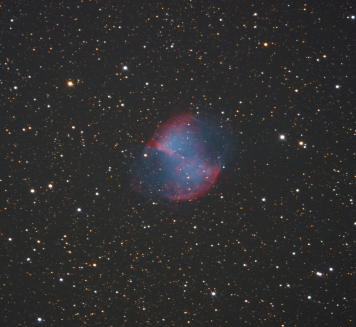M27 planetary nebula in Vulpecula ZWO ASI091 from NJ 2019-09-08
